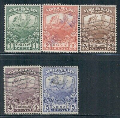 NEWFOUNDLAND 115,116,117,118,119 SG95-99 Used 1919 Trail of the Caribou Cat$4