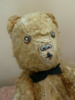 Old ANTIQUE 1930s TEDDY BEAR Jointed 40s VINTAGE Soft Toy WELL LOVED Repair NR