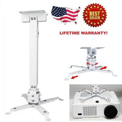 Universal Extendable White Tilt DLP LCD Ceiling Projector Mount Bracket 50 lbs
