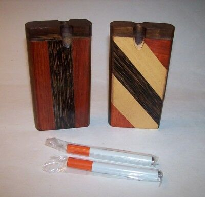 "Two Piece Combo Set 4"" Wood Dugout One Hitter Smoking Pipes"