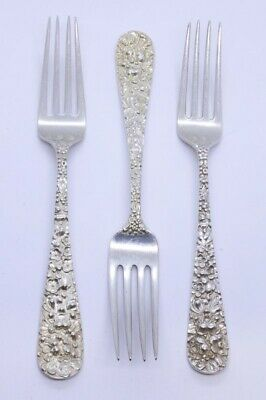 """Lot Set of 3 Stieff Rose 925 Sterling Silver 6-7/8"""" Place Dinner Fork MONO 1486"""
