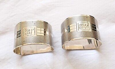 Art Deco Engine Turned Pair Of Sterling Silver Napkin Rings 1931