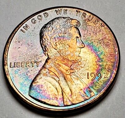 1992 Lincoln Memorial Unc Bu Cent Penny Colorful Rainbow Toned Must Buy!