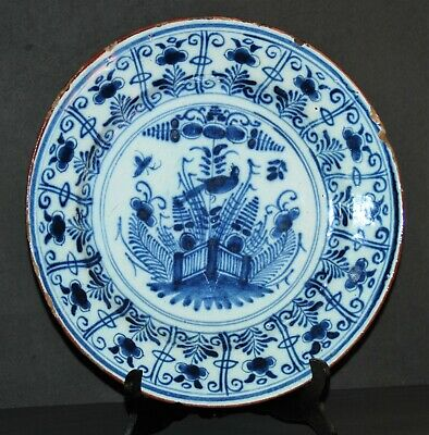 29,8 cm DELFT DUTCH XVIII 18th BLUE CHINOISERIE FLOWER FENCE BIRD KRAAK STYLE