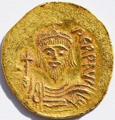 602 - 610 AD Gold Solidus Coin Phocas Byzantine Angel Victory