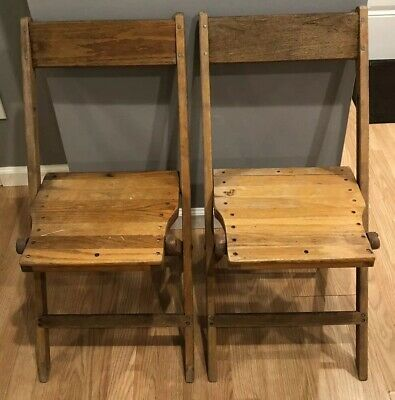 Vintage Snyder Antique Wood Oak Wooden Folding Chairs Set OF 2 Two