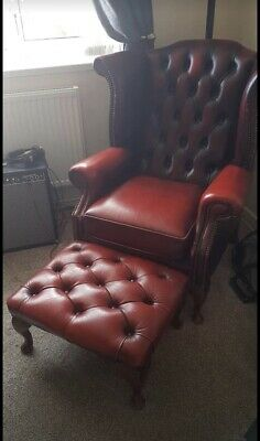Oxblood Leather Chesterfield Queen Anne Wing Back Chair And Footstool