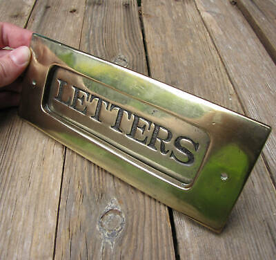 Antique Small Brass Letter Box Plate by James Cartland & Sons / Door Mail Slot