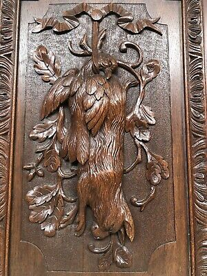 Stunning Large French Death Game Hunt /Black Forest Door panel in wood (2)