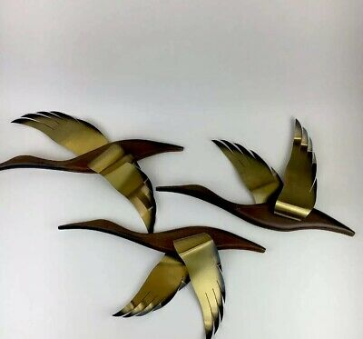 Vintage Set 3 Mid-Century Modern Danish Flying Geese Wood Brass Birds Wall Decor