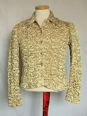 Joseph Ribkoff Womens Ruched Crinkled Jacket Sz 4 Golden Buttons Stretch