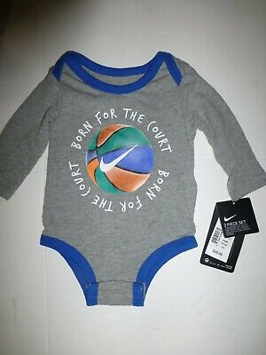 Nike Baby Infant Boy Grey and Blue Long Sleeve Basketball Bodysuit New 6 Months