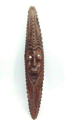 Vintage PNG Hand Carved Wooden Mask Papua New Guinea Cowrie Shell Eyes