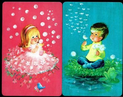 Cute Little Boy And Girl Blowing Bubbles Swap/Playing Cards (Brand New)