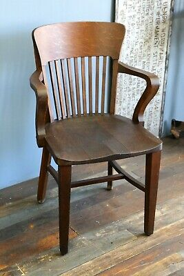 Antique Aetna Cabinet Co Banker's Chair ~ Oak Wood, Desk, Drafting Table, 1920s