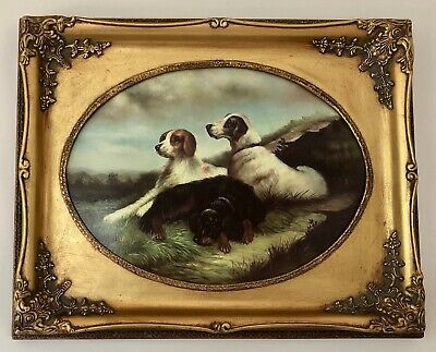 Antique Style Picture Of Three Beautiful Dogs In Ornate Gilded Frame