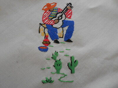 Vintage Embroidered Cloth Table Topper Spanish Theme + 4 Napkins 32 x 32
