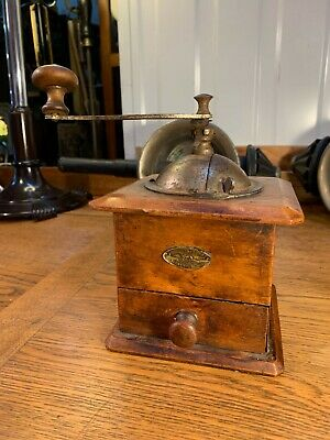 Antique Vintage French Peugeot Freres Timber & Iron Kitchen Cafe Coffee Grinder