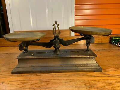 Antique Vintage French Cast Iron & Brass Shop Kitchen Balance Scales 40cm