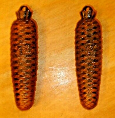 Vintage E. Schmeckenbecher 2 Large Heavy Pine Cone Cuckoo Clock Weights Germany