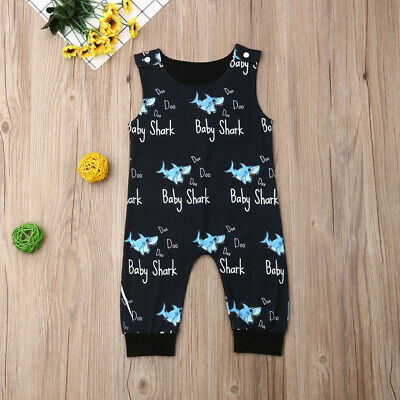 AU Newborn Baby Boys Clothes Sleeveless Shark Romper Jumpsuit Overall Outfit Set