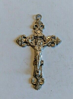 Vintage Sterling Silver Cross Pendant with Jesus in Center Gloria Sterling