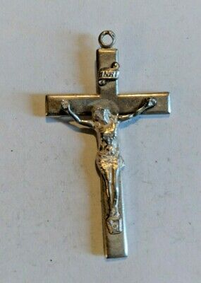 Vintage Sterling Silver Cross Pendant with Jesus in Center Sterling Creed