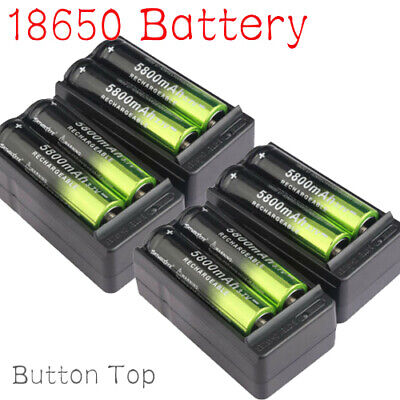 8X 18650 5800mAh Rechargeable Battery Li-ion 3.7V Batteries + 2X Smart Charger