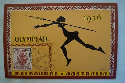 Olympic Games Collectable 1956 Melbourne Vintage Modern Masters Postcard & Stamp