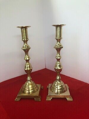 "PAIR OF  ANTIQUE BRASS CANDLE STICK HOLDERS ~ 11.5"" Tall"