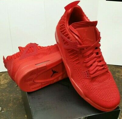 best loved b0483 81884 NIKE AIR JORDAN 4 Retro Flyknit SZ 12 University Fire Red October OG  AQ3559-600
