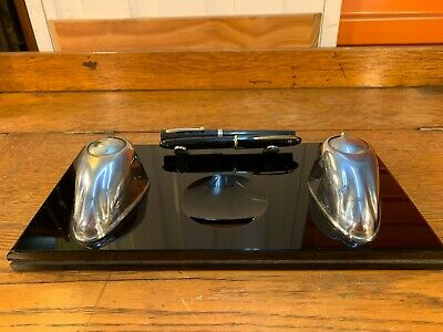 Antique Australian 1920's Art Deco Black Glass & Chrome Inkwell Desk Set Pens