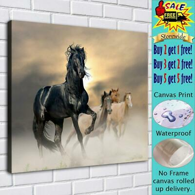 "Four horses and fog HD Canvas print Painting Home decor Room Wall art 16""x18"""