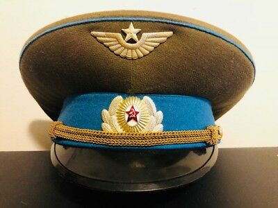 Russian Soviet Air Force Officer  Military Parade Cap Vtg Size 58 Estate Find