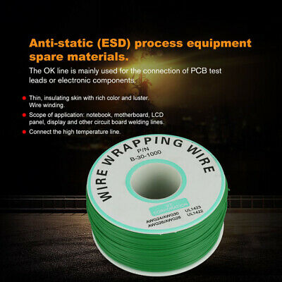 250m PCB Insulation Test Wrapping Wire Cable Tinned Copper Solid Cable 30AWG
