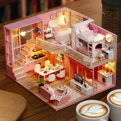 Pink DIY Miniature Loft Dollhouse Kit 3D Wooden Doll House Model Girl Toy ❤HP
