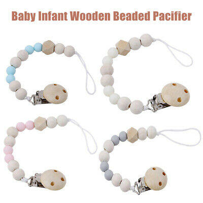 Baby Wooden Beaded Tool for Pacifier Holder Clip Nipple Teether Dummy Strap UK