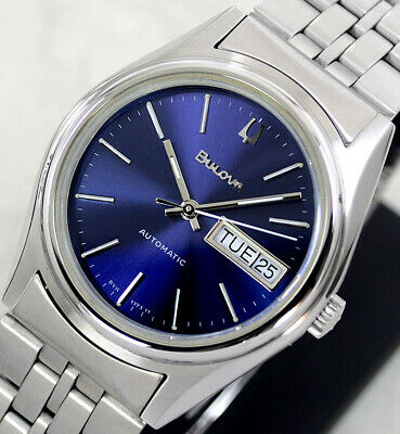 Vintage Bulova Automatic Day&Date Blue Dial Men's Watch