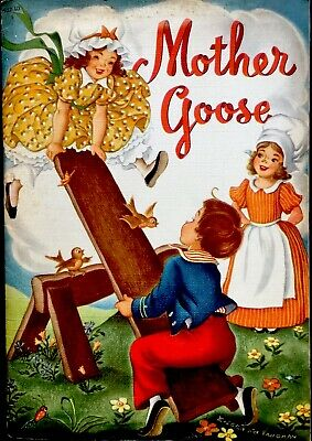 MOTHER GOOSE ~ Vintage Children's Nursery Rhymes Picture Lithographs Book