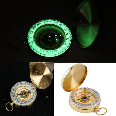 Noctilucent Hiking Camping Military Compass Pocket Watch Style for Outdoor Brass