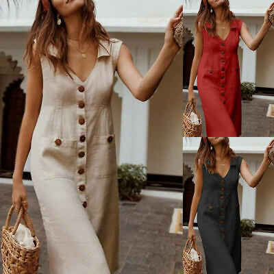 AU Womens Cotton Linen Shirt Dresses Sleeveless Pocket Ladies Summer Beach Dress