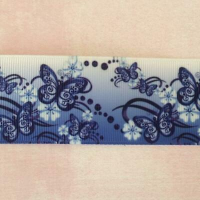 "Butterfly Grosgrain Ribbon. 38mm 1.5"" Perfect for Hair Bows and other Crafts."
