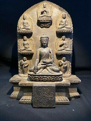 A Rare Black Stone Relief with the Meditating Syakyamuni Buddha at the