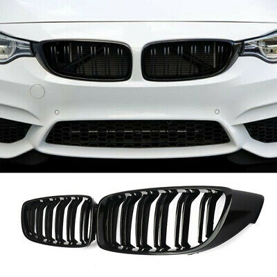 Gloss Black Kidney Grill Grille Twin Bar For BMW 4 Series F32 F33 F36 M4 2014+