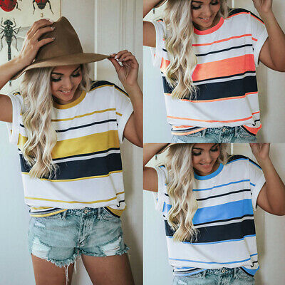 UK Womens Striped Summer Loose Tops Ladies Short Sleeve Casual Blouse T Shirt