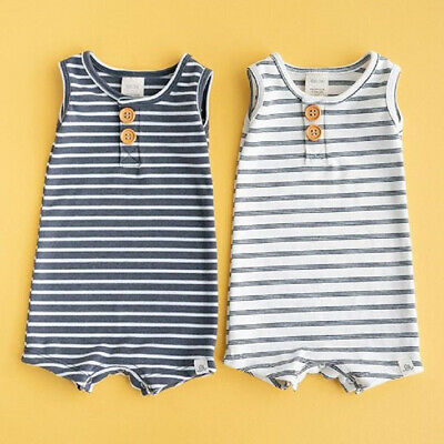 AU Newborn Infant Baby Boy Girl Striped Clothes Sleeveless Rompers Summer Outfit