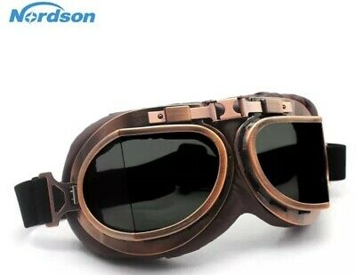Brown Classic Aviator Goggles Motorcycle Motorbike Retro Vintage Goggle Flying
