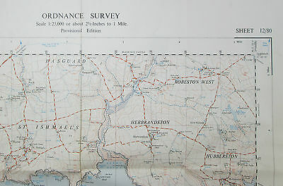 1958 old vintage OS Ordnance Survey 1:25000 First Series map SM 80 Angle 12/80