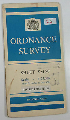 1958 old vintage OS Ordnance Survey 1:25000 First Series map SM 80 Angle