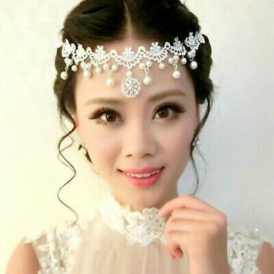 Wedding Bridal Headpiece Lace Crystal Headband Forehead Hair Accessories Decor